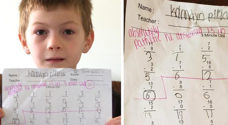 """""""Absolutamente patético"""". Así calificó una maestra el examen de un niño de 7 años. Las reacciones no se hicieron esperar."""