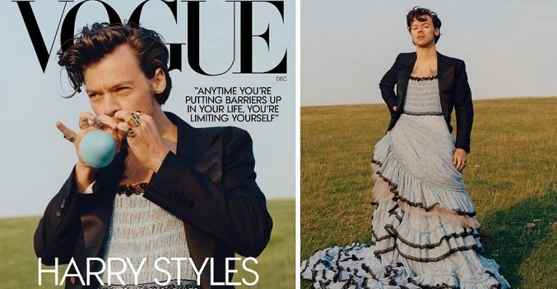 """Harry Styles posa vestido de mujer para la revista Vogue. """"La ropa está para divertirnos"""", afirmó."""