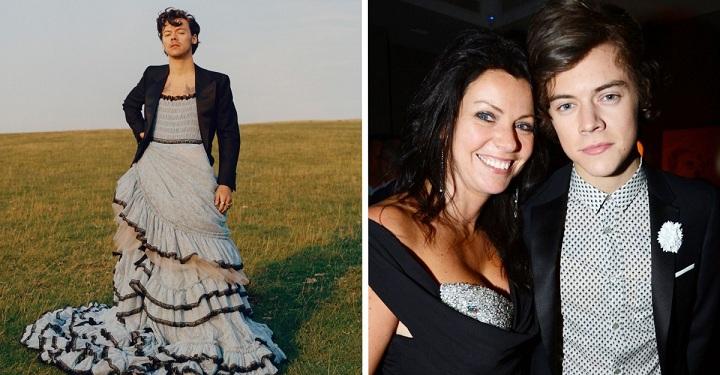 """La madre de Harry Styles, lo defiende de los ataques por vestirse de mujer: """"Él siempre fue así"""", dijo."""