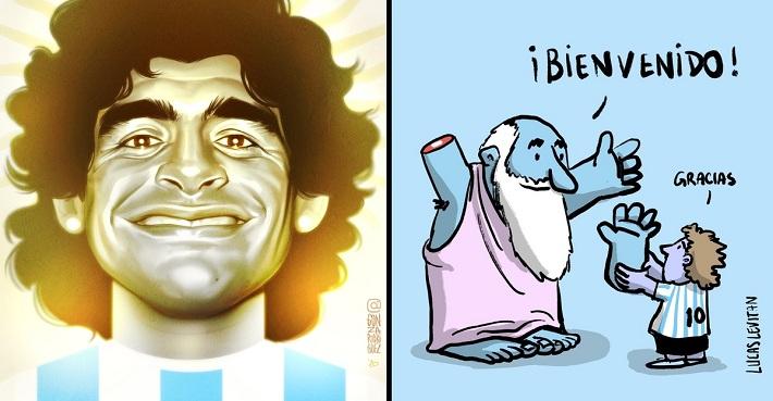 13 ilustradores rinden homenaje a Diego Armando Maradona. De los artistas, para otro artista.