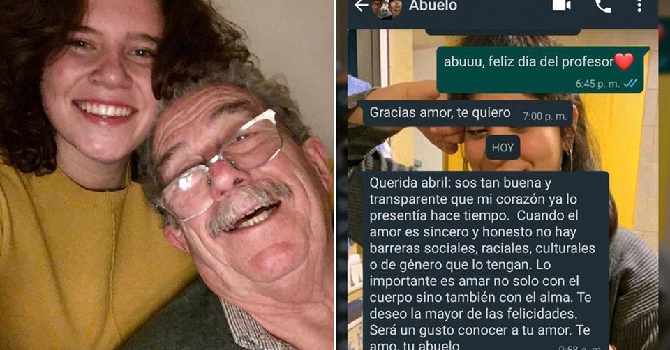 Un abuelo supo que su nieta estaba enamorada de una chica y le envió un mensaje que la hizo llorar.
