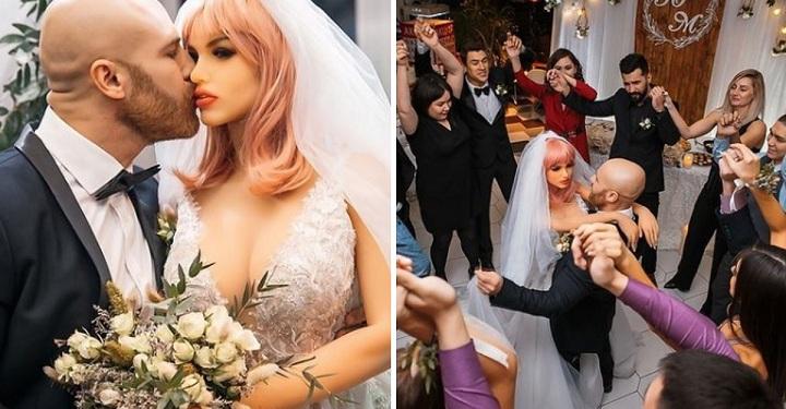"""Se casa con su muñeca inflable, después de 18 meses de relación. Dice estar """"loco de amor""""."""