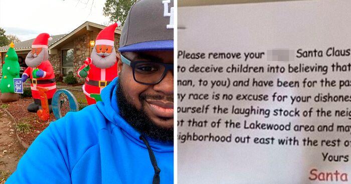 Un hombre decoró su jardín con un Papá Noel negro y despertó la furia de un vecino racista.