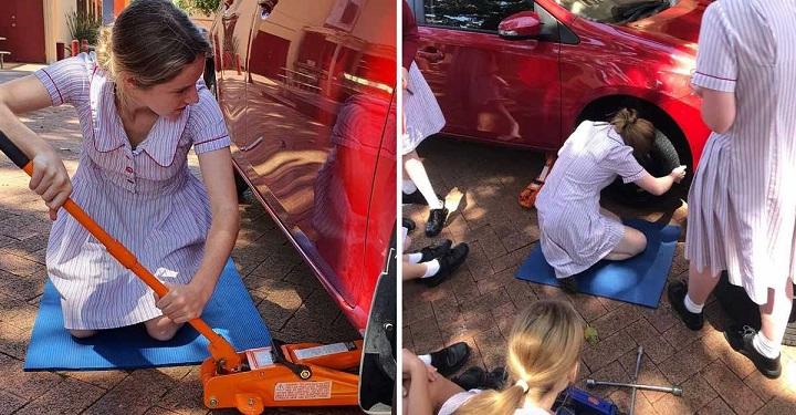 En una escuela de Australia, estas niñas aprenden a cambiar las ruedas de un auto. Una forma más de terminar con los prejuicios.