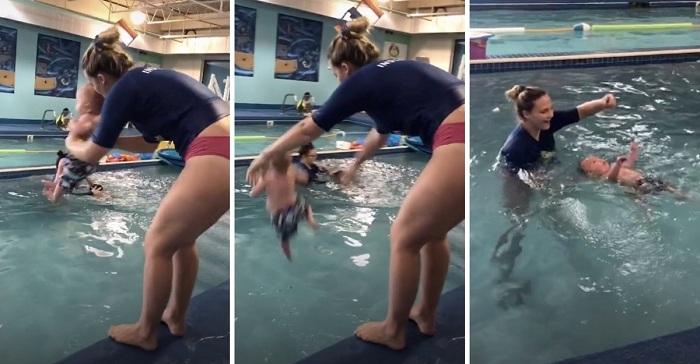 Arroja bebé al agua para que aprenda a sobrevivir. El video provoca polémica y furia en las redes sociales.