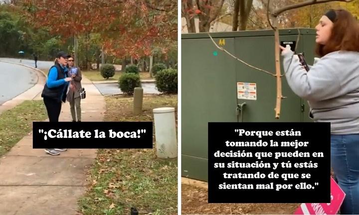"""Una manifestante pro-vida llama """"cobarde"""" a una mujer y una voluntaria la defiende del ataque."""