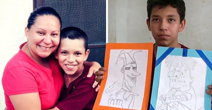 Niño vende sus dibujos en redes sociales para ayudar a pagar la cirugía de su mamá.