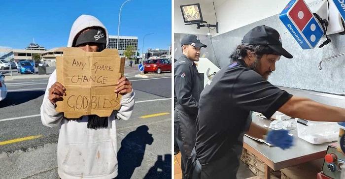 Un indigente pedía limosna con una caja de Domino's Pizza. El dueño lo vio y ahora trabajan juntos.
