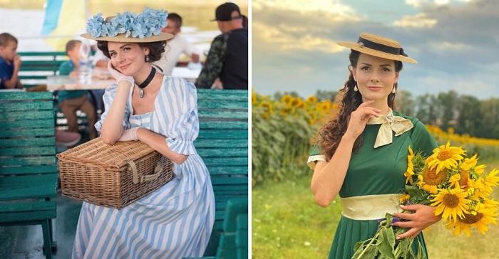 Una joven ucraniana se viste a diario como si viviera en el siglo XIX. Belleza y elegancia.