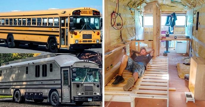 Compra un autobús escolar y lo remodela por completo. Ahora se dedica a viajar en su propia casa.