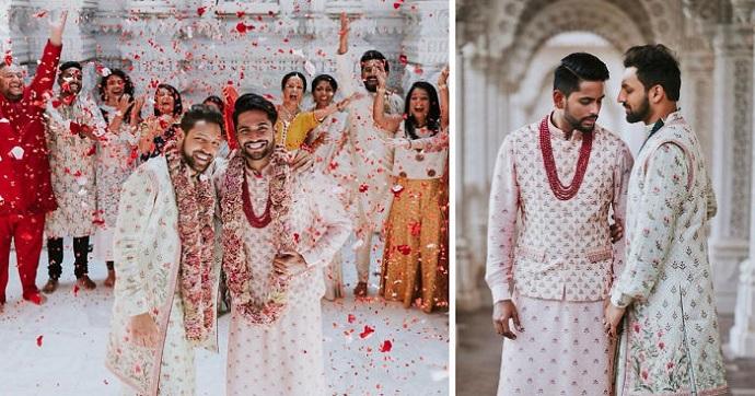 Una pareja gay hindú se casa con sus trajes tradicionales. Sus fotos se volvieron virales.