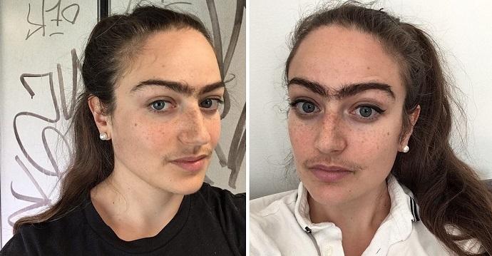 Una mujer se niega a depilarse las cejas y el bigote y le llueven los insultos.