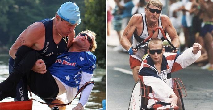 Murió Dick Hoyt, el ícono de las maratones que corría con su hijo cuadripléjico.