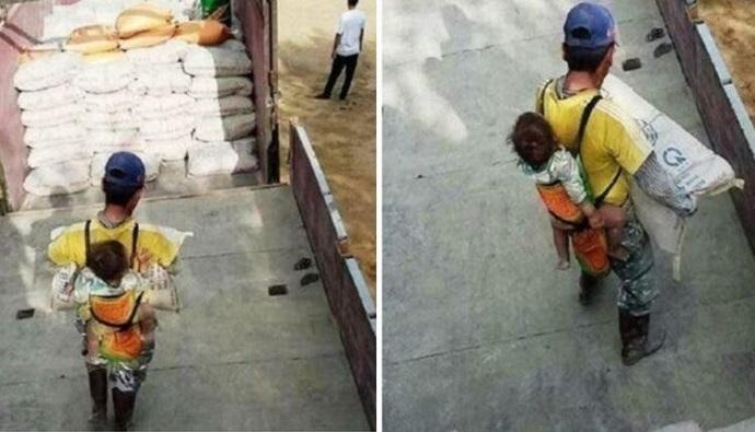 Viudo y solo, un albañil carga a su hijo para no dejarlo solo mientras trabaja