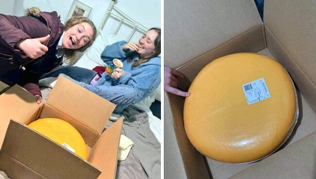 Tuvo una cita con un granjero y él le regaló un queso de 12kg.