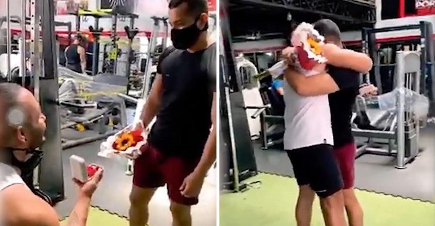 Un hombre le propone matrimonio a su novio en el gimnasio, ¡y él acepta!